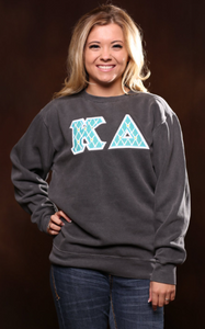 Greek Stitched Letters Comfort Colors Crew