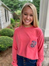 Load image into Gallery viewer, Monogrammed Applique Long Sleeve Comfort Colors Pocket Tee