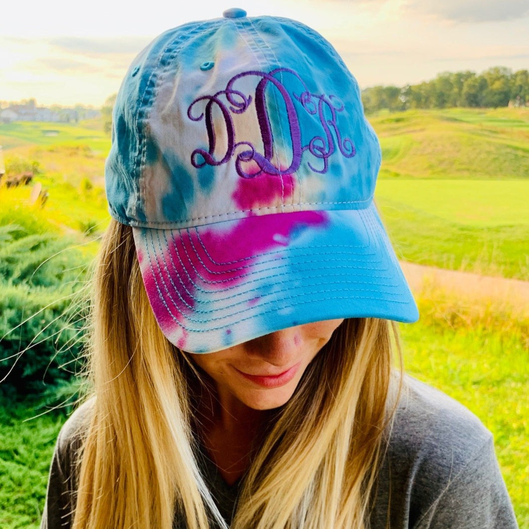 Monogrammed Tie-Dyed Hat