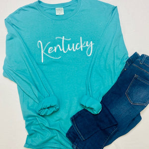 Embroidered Kentucky Garment Dyed Long Sleeve Tee