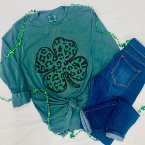 St. Patrick's Day Four Leaf Clover Long Sleeve Comfort Colors Tee
