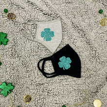 Load image into Gallery viewer, St. Patrick's Day Glitter Shamrock Mask