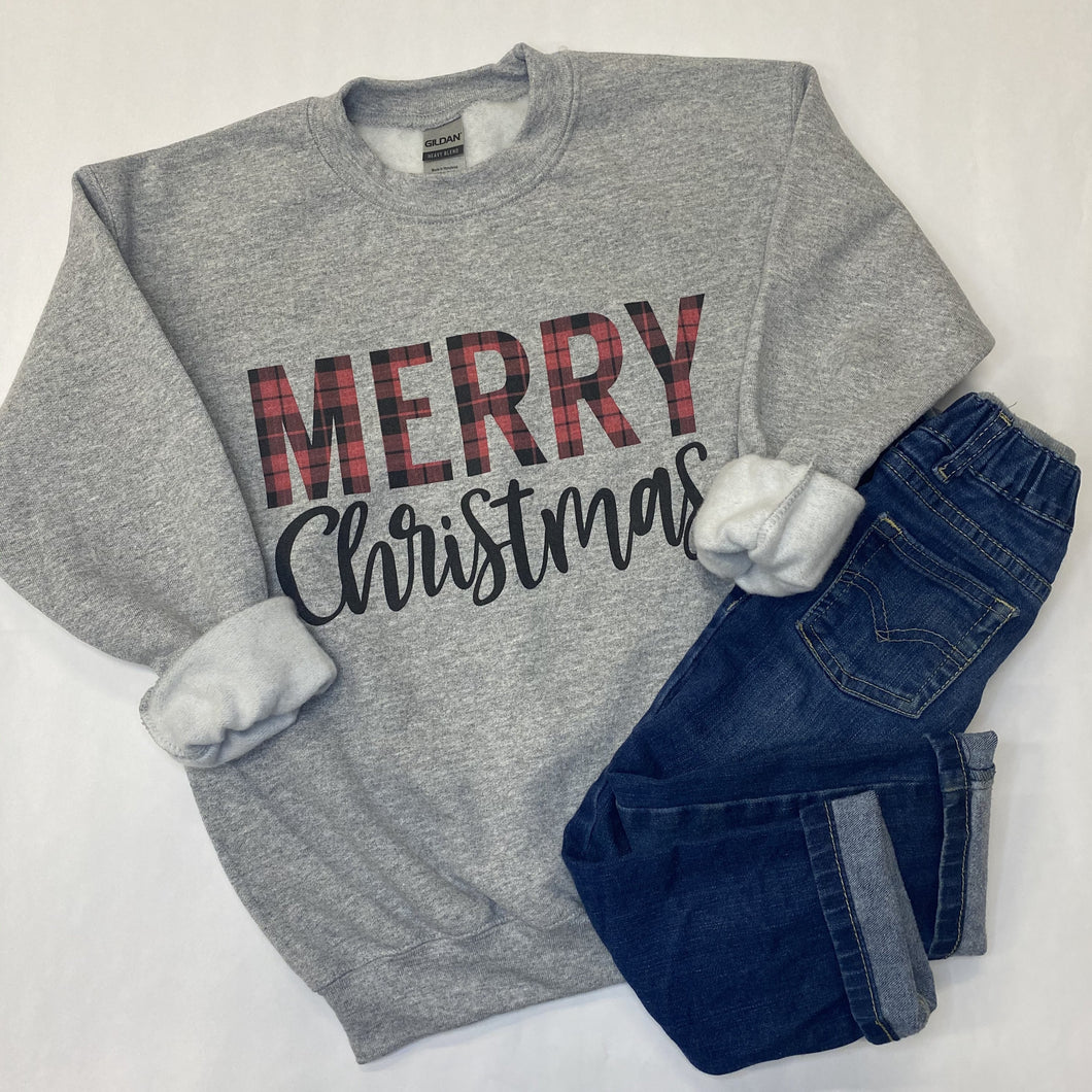 Merry Christmas Plaid Kids Sweatshirt