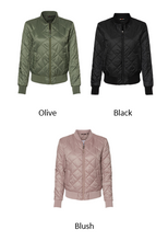 Load image into Gallery viewer, Monogrammed Ladies Quilted Bomber Jacket