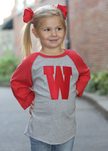 Load image into Gallery viewer, W Applique Baseball Tee - Toddler, Youth & Adult Sizes