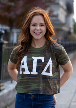 Load image into Gallery viewer, Alpha Gamma Delta Camo Crop