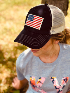 American Flag Patch Mesh-back Cap