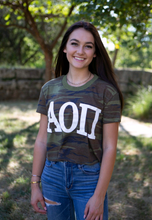 Load image into Gallery viewer, Alpha Omicron Pi Camo Crop