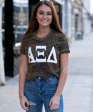 Load image into Gallery viewer, Alpha Xi Delta Camo Crop