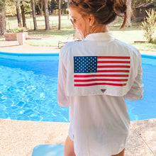 Load image into Gallery viewer, Ladies Columbia PFG Bahama Long Sleeve American Flag Shirt
