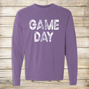Distressed Game Day Comfort Colors Long Sleeve Tee