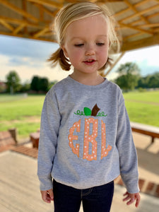 Pumpkin Applique Monogram Sweatshirt
