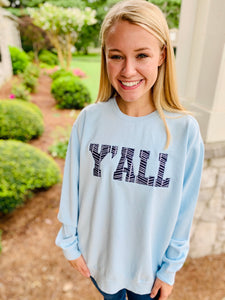 Y'all Applique Comfort Colors Sweatshirt