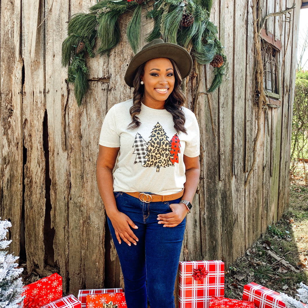 Plaid and Leopard Christmas Tree Tee