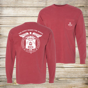The Spirit Makes The Nurse Comfort Colors Pocket Long Sleeve