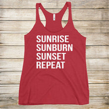 Load image into Gallery viewer, Sunrise Sunburn Sunset Repeat Ladies Tank