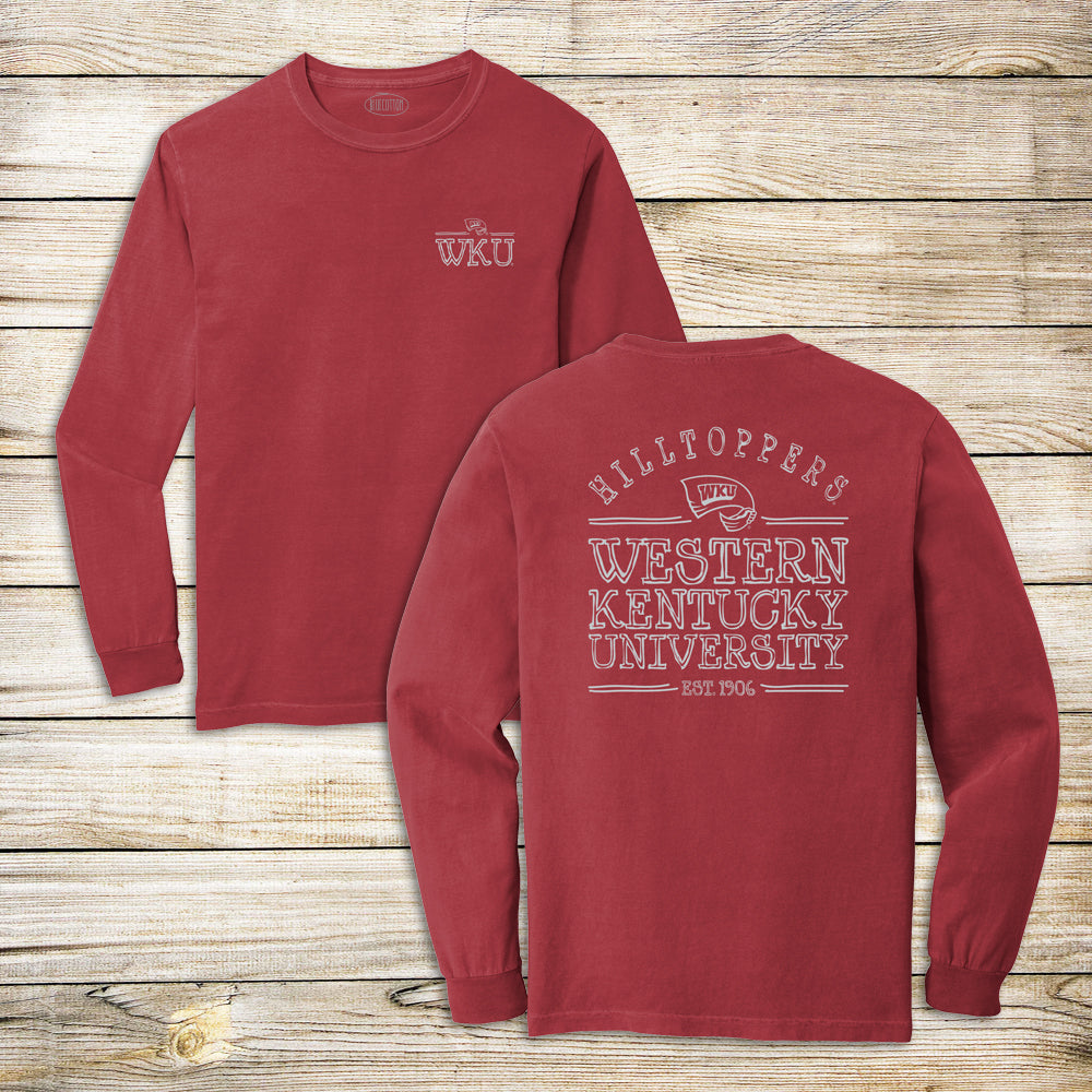 WKU Left Chest w/ Hilltoppers Comfort Colors Long Sleeve Tee