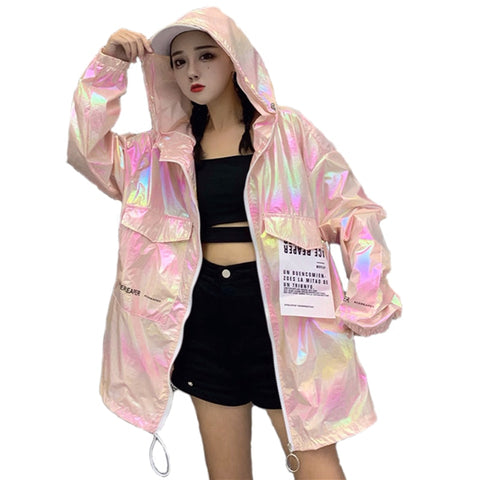 Loose Shiny Jacket Women Casual Neon Jacket Hooded Windbreaker Silver Jacket Summer Thin Jackets Plus Size Long Sleeve Outerwear