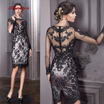 Long Sleeve Short Cocktail Dresses Party Black Lace Graduation Women Prom Plus Size Coctail Semi Formal Dresses