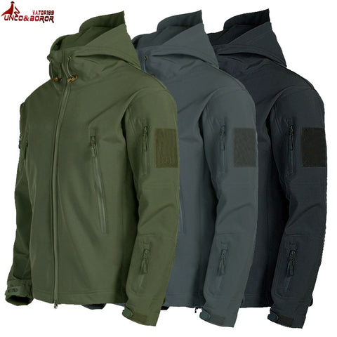 Army Shark Skin Soft Shell Clothes Tactical Windproof Waterproof jacket men Flight Pilot Hood Coat Military Field bomber Jacket