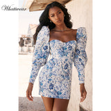 Whatiwear 2019 Summer Mini Dress Print Flower Party Dress Streetwear Women Evening Party Dress Puff Sleeve Vestidos de festa