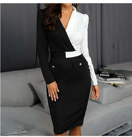 New Women Elegant Long Sleeve Black and white Patchwork Casual Party Work Office Fitted Stretch Slim Pencil Sheath Bodycon Dress