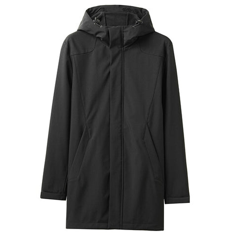 Giordano Men Jackets Polar Fleece-lined Mid-long Hooded Jacket Windproff Double Pockets Warm Casaco Masculino 01079652