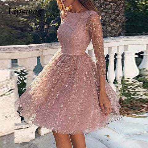 2020 Spring Hollow Out Backless Lace Party Dress Women Summer Sexy O-neck A-Line Princess Dress Casual Long Sleeve Mini Dresses