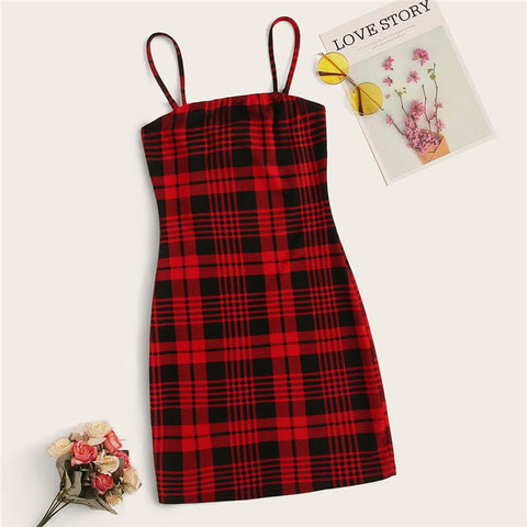 ROMWE Two Tone Tartan Pattern Mini Dress Women Sleeveless Cami Sexy Dress Spring Summer Slim Fit Bodycon Dress Plaid Dresses
