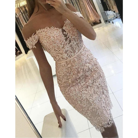 Hot 2019 New Style Women Sexy Off Shoulder Prom Ball Gown Formal Evening Party  Sheath Lace Slash Neck Lace Short Dress