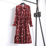 Beautiful Fashion Spring Autumn Women Long Sleeve Dress Retro Collar Casual Slim Dresses Floral Printing Chiffon Sexy