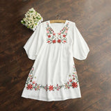 2020 Summer Vintage 70s Women Mexican Ethnic Embroidered Peasant Hippie Gypsy Boho Mini Dress Beach Holiday Dresses Vestido