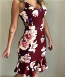 Women Floral Print Sleeveless Strap Dress Ladies High Waist V neck Boho Long Maxi Summer Evening Party Dresses