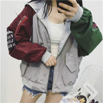 Jacket Women's Spring Jacket 2020 Women Contrast Short Jacket Long Sleeve Zipper Letter Female Jacket Korean Loose feminine Coat