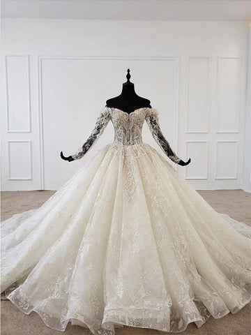 HTL1097 hot selling wedding dress long sleeve off shoulder lace bridal gowns European and American style princess abiti da sposa