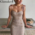 Glamaker Tweed grid elegant office lace up dress Sleeveless buttons pink bodycon summer dress Sexy party mini strapless dress