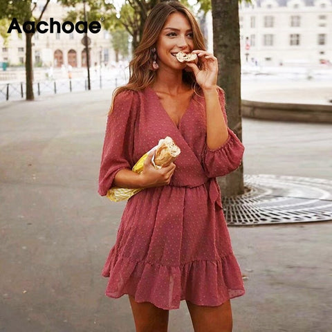 2020 Spring Sweet Women Pink Mini Dress Three Quarter Puff Sleeve V Neck Ruffles Lace Chiffon Dress Ladies Party Dresses Vestido