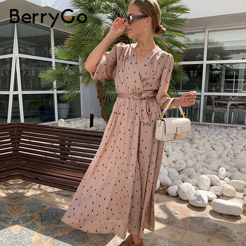 BerryGo Polka dot elegant women dress Puff sleeve vintage long party dress V neck sash streetwear wrap dress vestido work wear