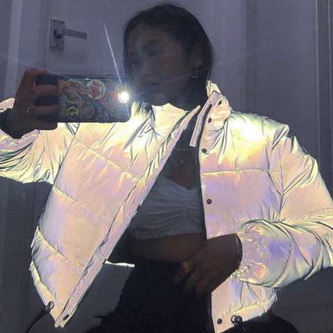 Reflective Gray Zipper Oversized Women Jackets Long Sleeve Button Loose Thick Cropped Jacket Sexy Streetwear Coat Winter 2019