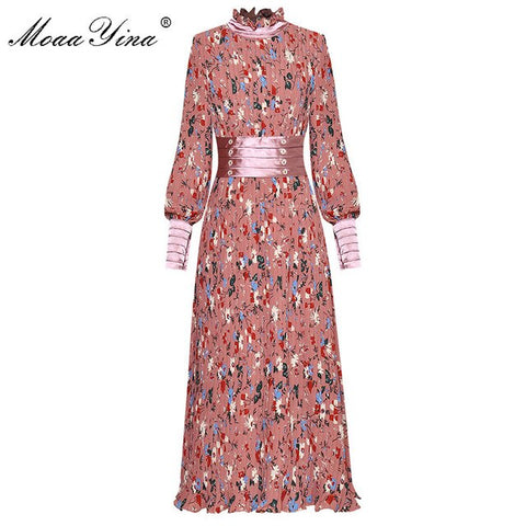 MoaaYina Fashion Designer Runway Dress Spring Autumn Women Lantern sleeve Floral-Print Pleated Elegant Dress