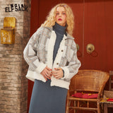 ELFSACK White Plaid Frill Patchwork Single Button Oversize Women Jacket 2020 Spring Korean Long Sleeve Casual Ladies Outwears