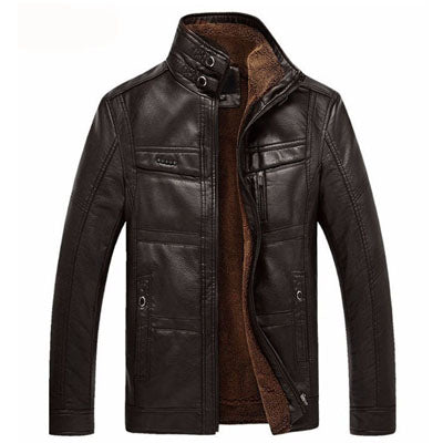 DIMUSI Leather Jacket Men Winter Leanther Jacket Solid Thick Coat Male Thermal Fleece Casual Stand Collar Clothing 5XL,YA512