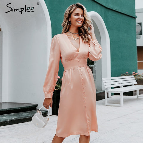 Simplee Sexy deep v neck satin women midi dress Vintage long sleeve buttons high waist ladies party dress Elegant silk vestido