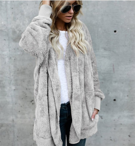 S-5XL Faux Fur Teddy Bear Coat Jacket Women Fashion Open Stitch Winter Hooded Coat Female Long Sleeve Fuzzy Jacket 2018 Hot New
