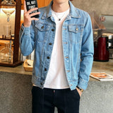 Solid Casual Slim Mens Denim Jacket Plus Size 4XL Bomber Jacket Men High Quality Cowboy Men's Jean Jacket Chaqueta Hombre