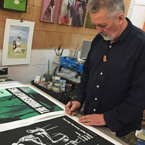 David Storey signing his Housemartins prints