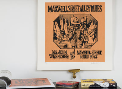 Scale photo of Robert Crumb art print Maxwell Street Alley Blues