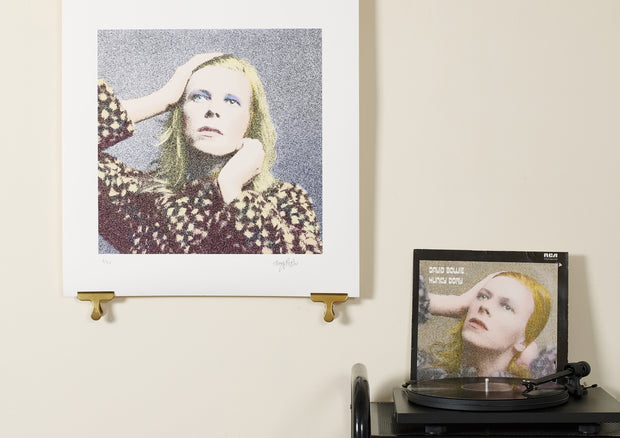 Scale photo of David Bowie print by Terry Pastor