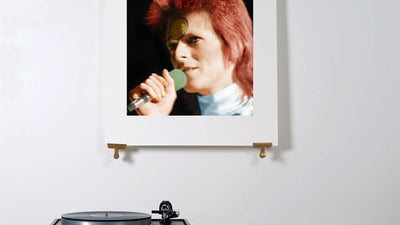 Scale photo of David Bowie Starman limited edition inkjet print by Michael Spencer Jones