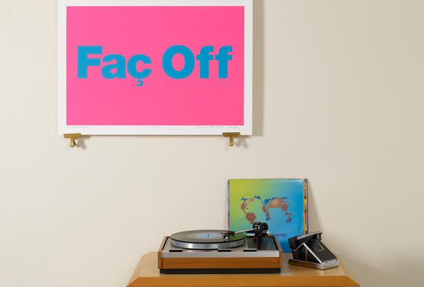 Scale photo of Factory Records print by Central Station Design